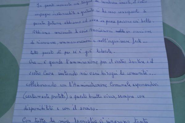 La lettera di nonna Silvia ai volontari di Verdellino